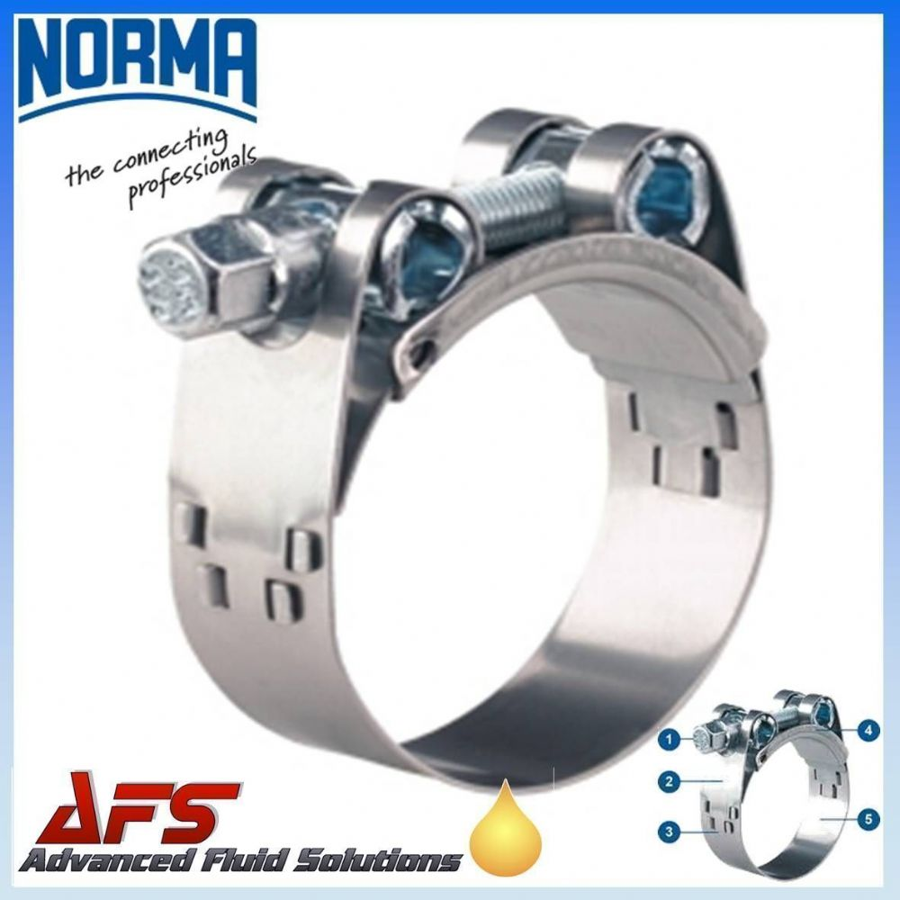 213mm - 226mm NORMA GBS Heavy Duty W4 Stainless Steel Clip T Bolt Super Hose Clamp